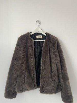 Urbancode Giacca in eco pelliccia marrone-grigio-grigio-lilla