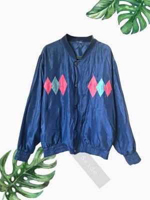 Bomberjacke leichte Jacke blau 100% Seide luftig oversized unisex | Vintage | 38-44