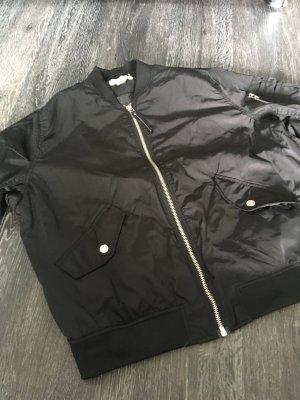 H&M Chaqueta bomber negro tejido mezclado