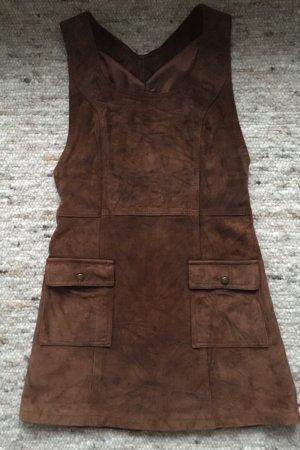 Bomboogie Vestito in pelle marrone-rosso Scamosciato