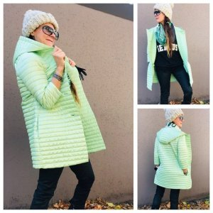 Bomboogie Between-Seasons Jacket pale green wet-look nylon