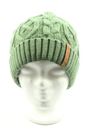 Bommel Bonnet en crochet vert torsades style décontracté