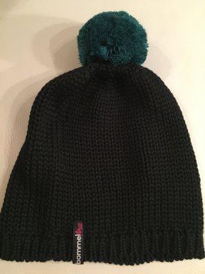BOMMEL ME schwarze Mütze mit dunkelgrünem Bommel, der abnehmbar ist, NEU und ungetragen