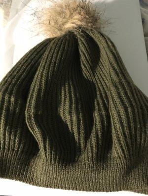H&M Bonnet à pompon gris vert-vert foncé