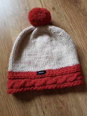 Handmade Knitted Hat natural white-dark red