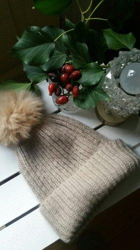Zara Cappello con pon pon sabbia-color cammello Tessuto misto