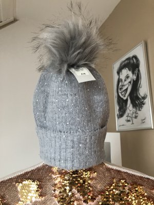 River Island Knitted Hat light grey-silver-colored
