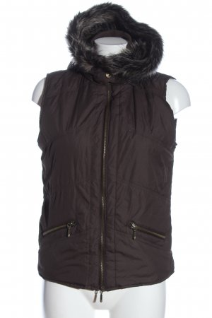 Bon'a Parte Hooded Vest brown quilting pattern casual look