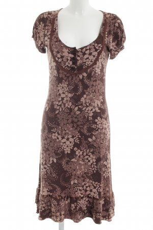 Bon'a Parte Midi Dress brown-bronze-colored flower pattern casual look