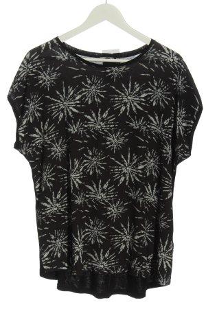 Bon'a Parte T-shirt czarny-jasnoszary Wzór w kwiaty W stylu casual