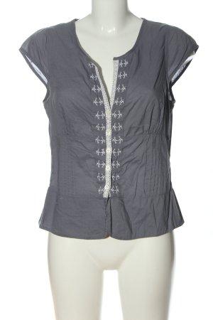 Bonaparte Kurzarm-Bluse hellgrau-weiß grafisches Muster Casual-Look