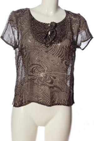 Bonaparte Kurzarm-Bluse braun-weiß abstraktes Muster Casual-Look