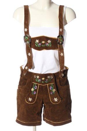 Bongossi Trade Pantalón de cuero tradicional marrón estampado floral