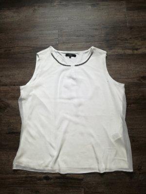 *Bonita* elegantes Top mit Schmuckdetails / weiß / Gr. 42 - neuwertig