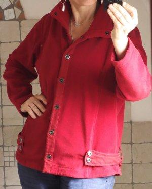 Bonita Fleece Jacke, sportlich, bequem, warm, kuschelig, Stehkragen, Druckknöpfe, Materialmix Leiste und Laschen/Gürtel/Schlaufen aus Denim, der Rest aus Fleecematerial, Sport, Freizeit, dunkelrot, guter Zustand, Gr. XL, Gr. 44