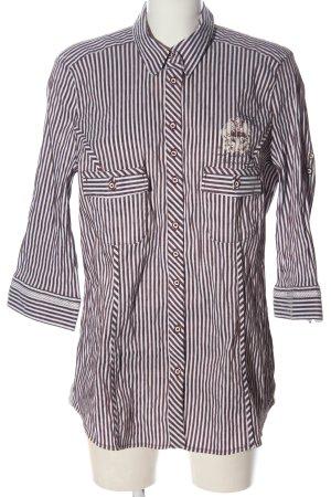 Bonita Camicia blusa marrone-bianco motivo a righe stile professionale