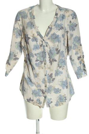 Bonita Hemd-Bluse blau-wollweiß Allover-Druck Casual-Look