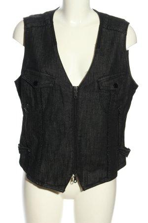 Bonita Gilet en jean noir Motif de tissage style décontracté