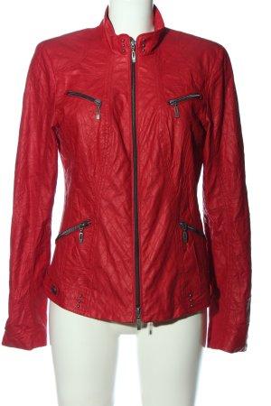 Bonita Giacca in ecopelle rosso motivo trapuntato stile casual