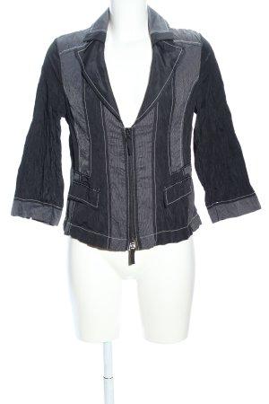 Bonita Kurz-Blazer schwarz-silberfarben Streifenmuster Casual-Look