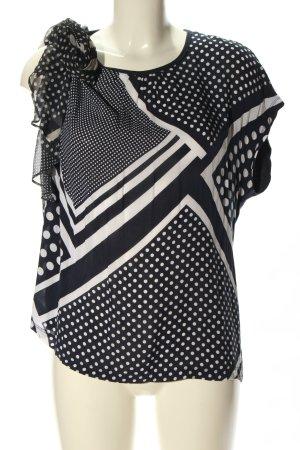 Bonita Kurzarm-Bluse schwarz-weiß grafisches Muster Casual-Look