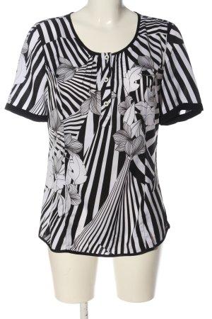 Bonita Kurzarm-Bluse schwarz-weiß abstraktes Muster Casual-Look