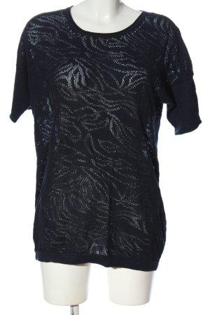 Bonita Kurzarmpullover schwarz Blumenmuster Casual-Look