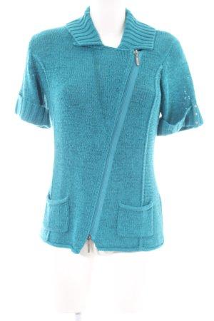 Bonita Cardigan à manches courtes turquoise style décontracté