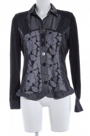 Bonita Langarm-Bluse schwarz-hellgrau Blumenmuster Business-Look