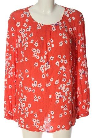 Bonita Langarm-Bluse rot-weiß Allover-Druck Elegant