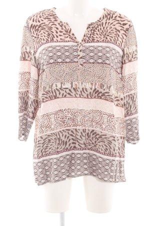 Bonita Langarm-Bluse creme-braun abstraktes Muster Casual-Look