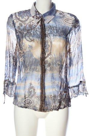 Bonita Langarm-Bluse blau-creme abstraktes Muster Casual-Look