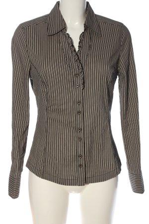 Bonita Langarm-Bluse wollweiß-schwarz Streifenmuster Casual-Look
