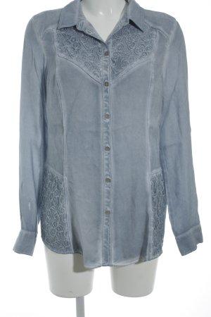 Bonita Langarm-Bluse kornblumenblau-himmelblau Street-Fashion-Look
