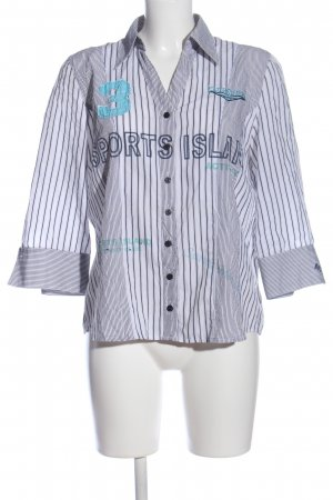 Bonita Langarmhemd weiß-blau Schriftzug gedruckt Casual-Look