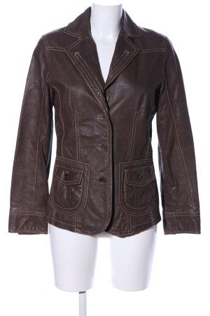 Bonita Blazer en cuir brun style décontracté
