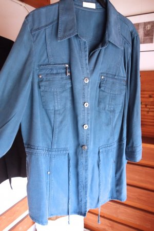 Bonita Chaqueta tipo blusa azul acero-azul aciano lyocell