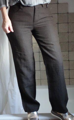 Bonita Leinenhose, leichte Hose, luftig, angenehm zu tragen, dunkelbraun, gerade geschnitten, eher weiteres gerades Bein, 100% Leinen, Gürtelschlaufen, 6 Pocket (6 Taschen), längliche Steppnähte, hoher Bund TOP Zustand, Gr. 36