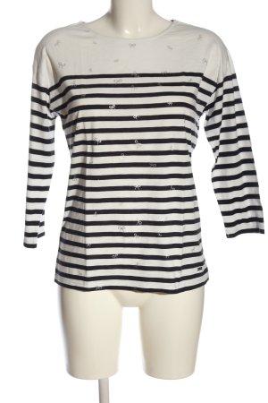 Bonita Top à manches longues blanc-noir motif abstrait élégant
