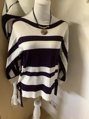 Bonita Maglione girocollo bianco-viola scuro