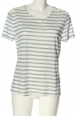 Bonita Camisa de rayas blanco puro-azul estampado a rayas look casual