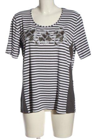 Bonita Camisa de rayas marrón-blanco estampado gráfico look casual
