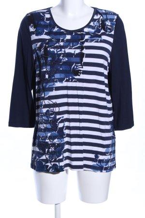 Bonita Stripe Shirt blue-white flower pattern casual look