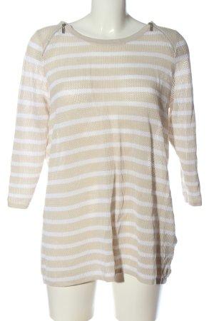 Bonita Maglione girocollo bianco-crema motivo a righe stile casual