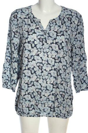 Bonita Schlupf-Bluse blau-weiß Allover-Druck Casual-Look