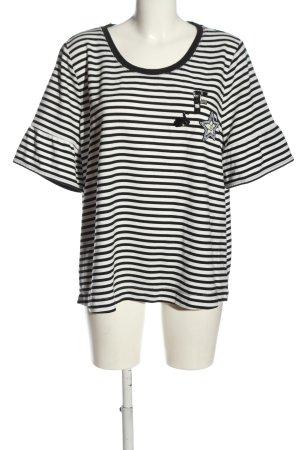 Bonita Blouse à enfiler noir-blanc motif rayé style décontracté
