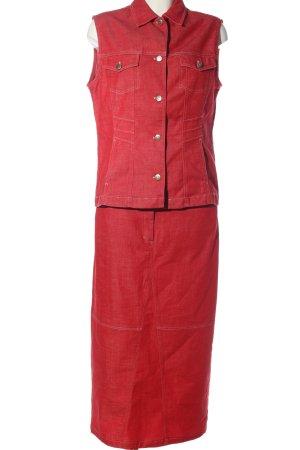 Bonita Gebreide twin set rood casual uitstraling