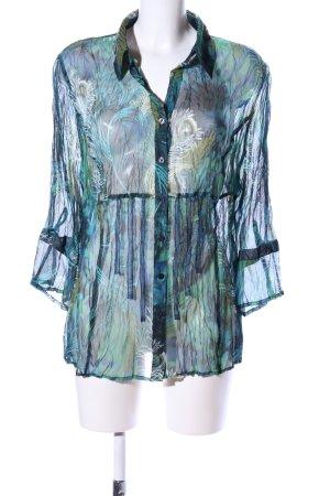 Bonita Transparenz-Bluse blau-grün Allover-Druck Casual-Look