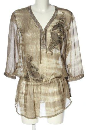 Bonita Transparenz-Bluse braun-creme abstraktes Muster Elegant