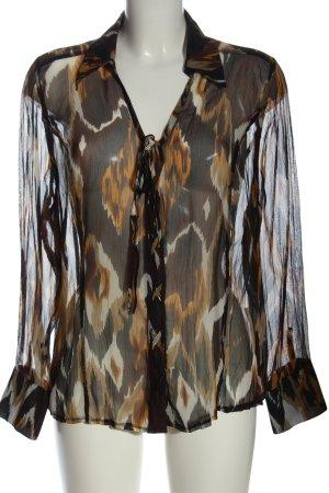 Bonita Blusa trasparente nero-arancione chiaro motivo astratto stile classico